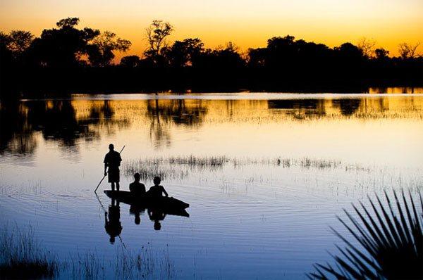 Okavango sunset from mokoro